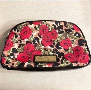 BETSEY JOHNSON Leopard & Roses Cosmetics Bag  EUC!